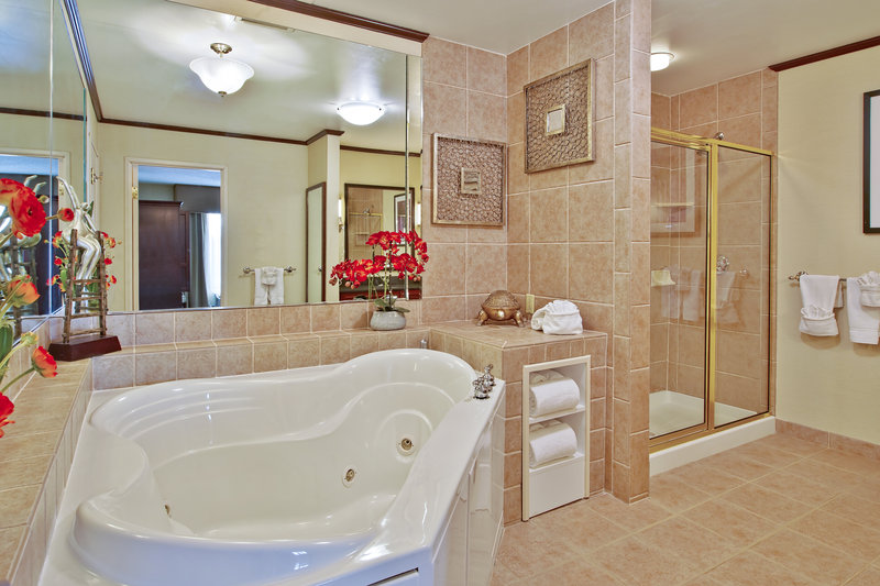 Presidential Suite Bathroom with jetted tub and gl