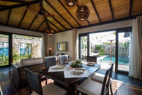 Ocean Pool Villa Living room at Amiana Resort